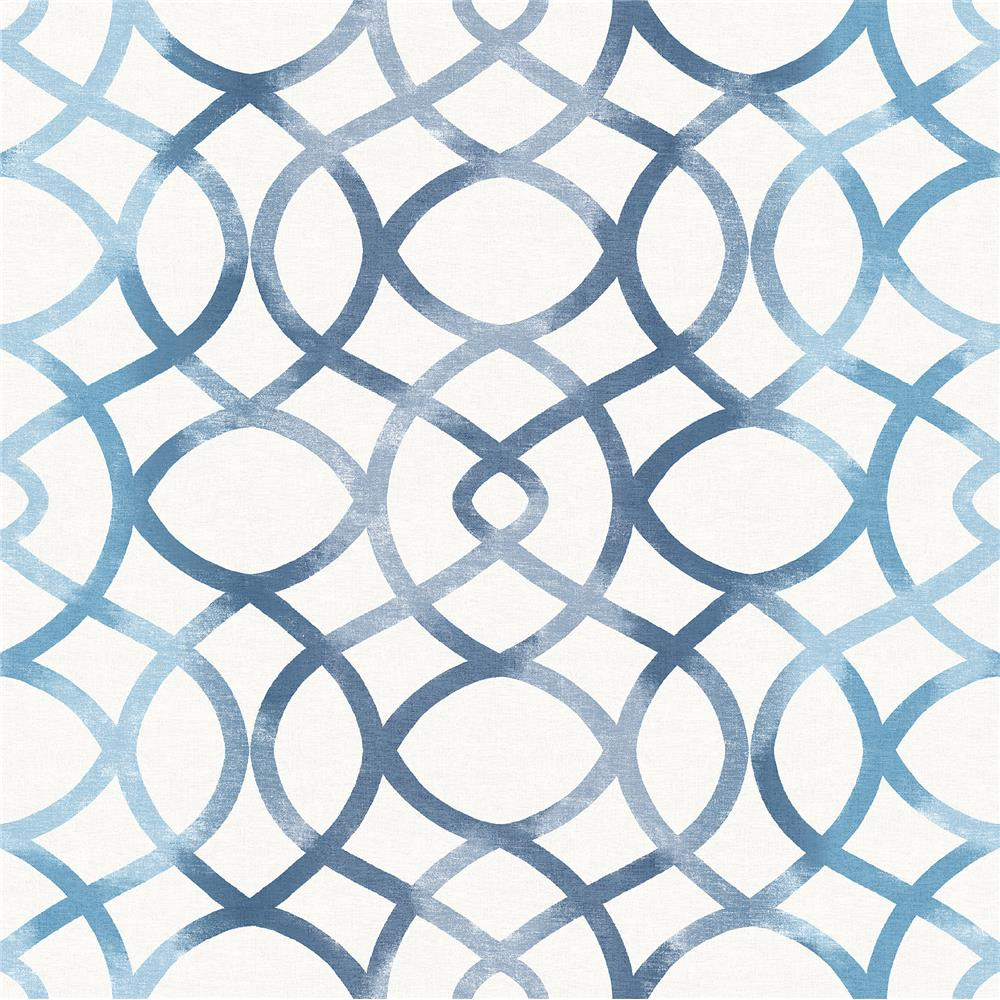 A-Street Prints by Brewster 2697-78034 Twister Blue Trellis Wallpaper