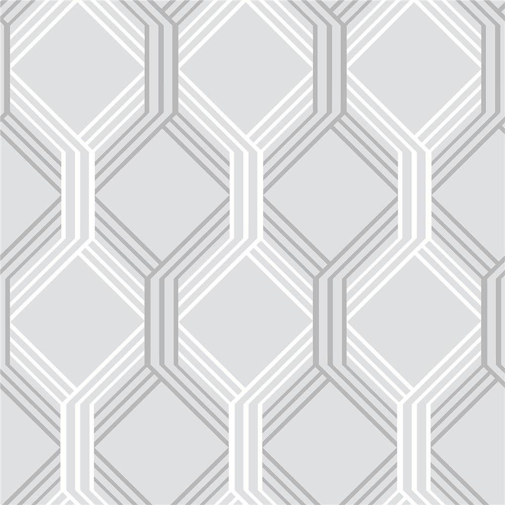 A-Street Prints by Brewster 2697-78054 Linkage Grey Trellis Wallpaper
