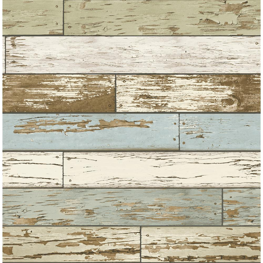A - Street Prints by Brewster 2701-22302 Scrap Wood Sky Blue Weathered Texture