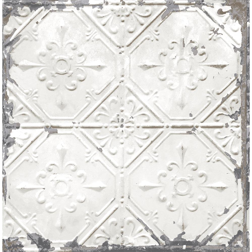 A - Street Prints by Brewster 2701-22305 Tin Ceiling White Distressed Tiles