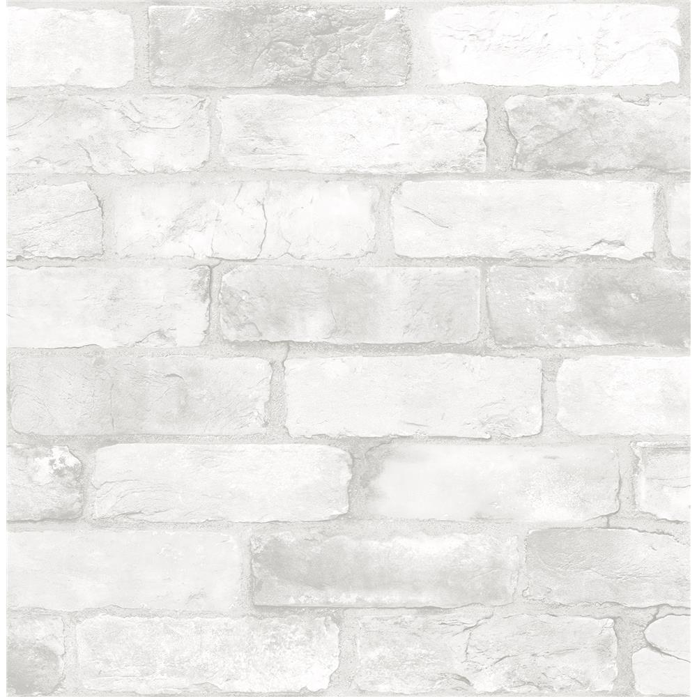 A - Street Prints by Brewster 2701-22321 Reclaimed Bricks White Rustic