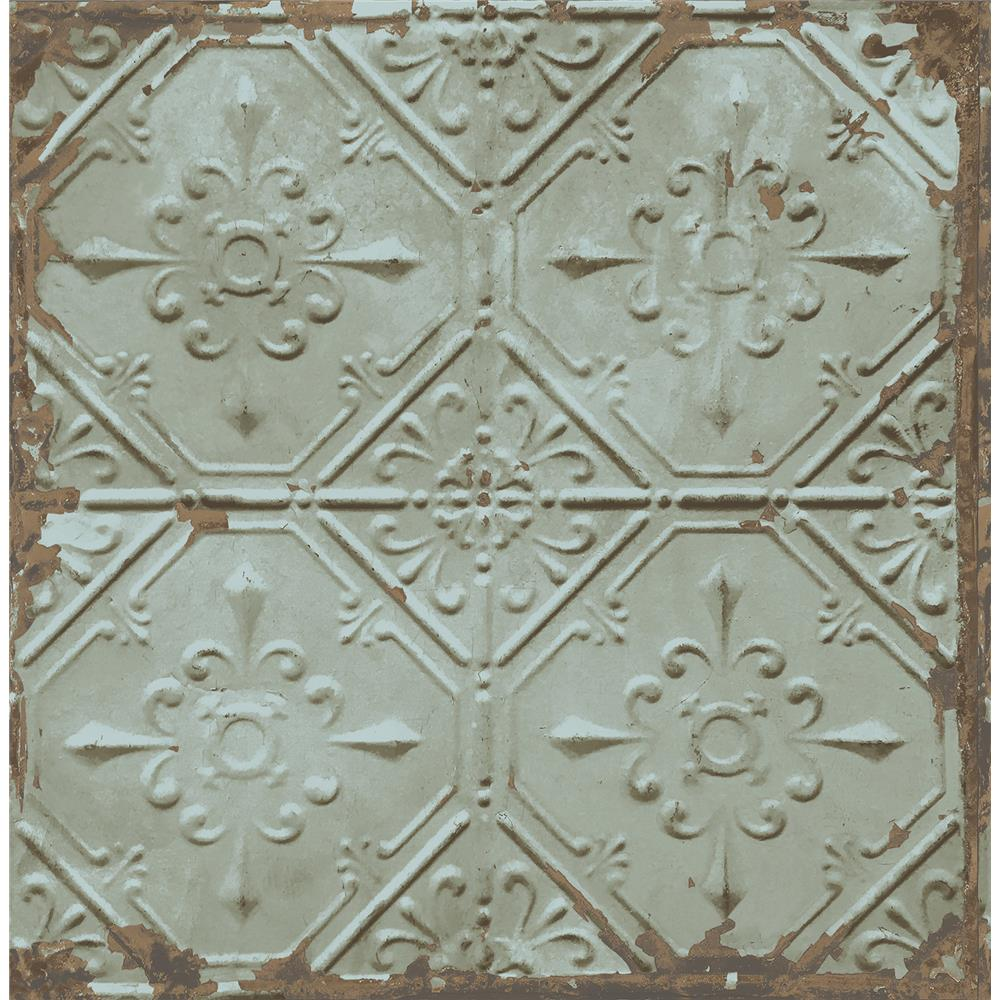 A - Street Prints by Brewster 2701-22331 Tin Ceiling Teal Distressed Tiles