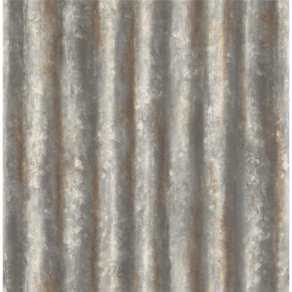 A - Street Prints by Brewster 2701-22333 Corrugated Metal Charcoal Industrial Texture