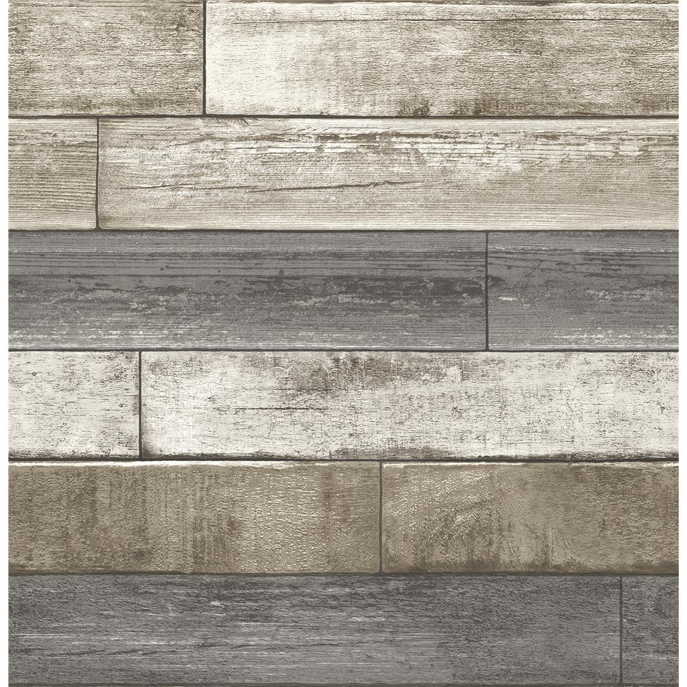 A - Street Prints by Brewster 2701-22345 Weathered Plank Grey Wood Texture