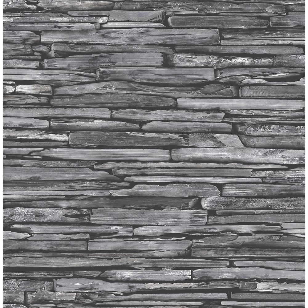 A - Street Prints by Brewster 2701-22352 Stacked Slate Charcoal Industrial