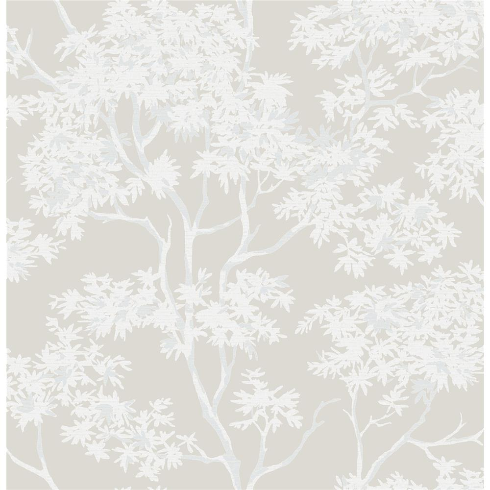 Brewster 2704-22677 For Your Bath III Paix Grey Trees Wallpaper