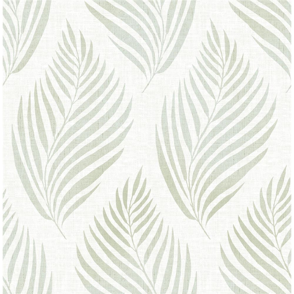 Brewster 2704-22682 For Your Bath III Patrice Green Linen Leaf Wallpaper