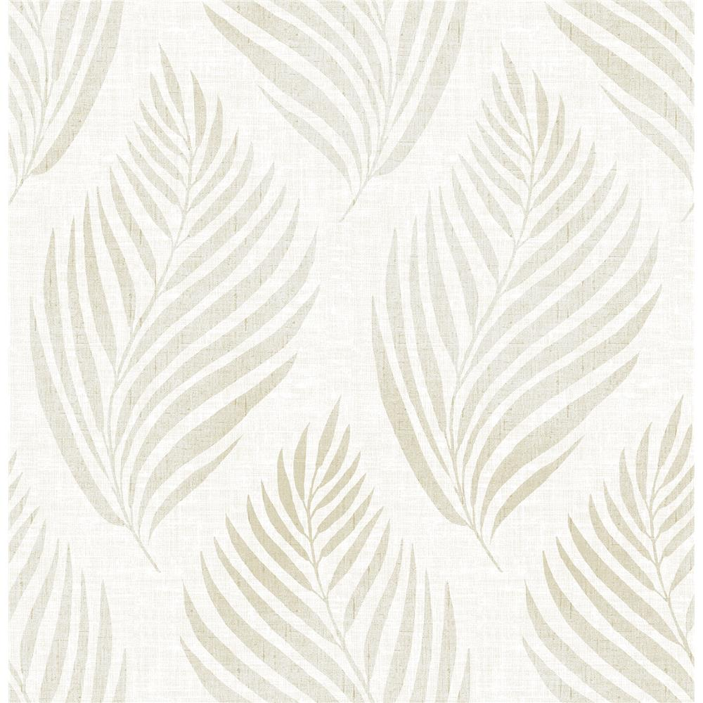 Brewster 2704-22684 For Your Bath III Patrice Beige Linen Leaf Wallpaper