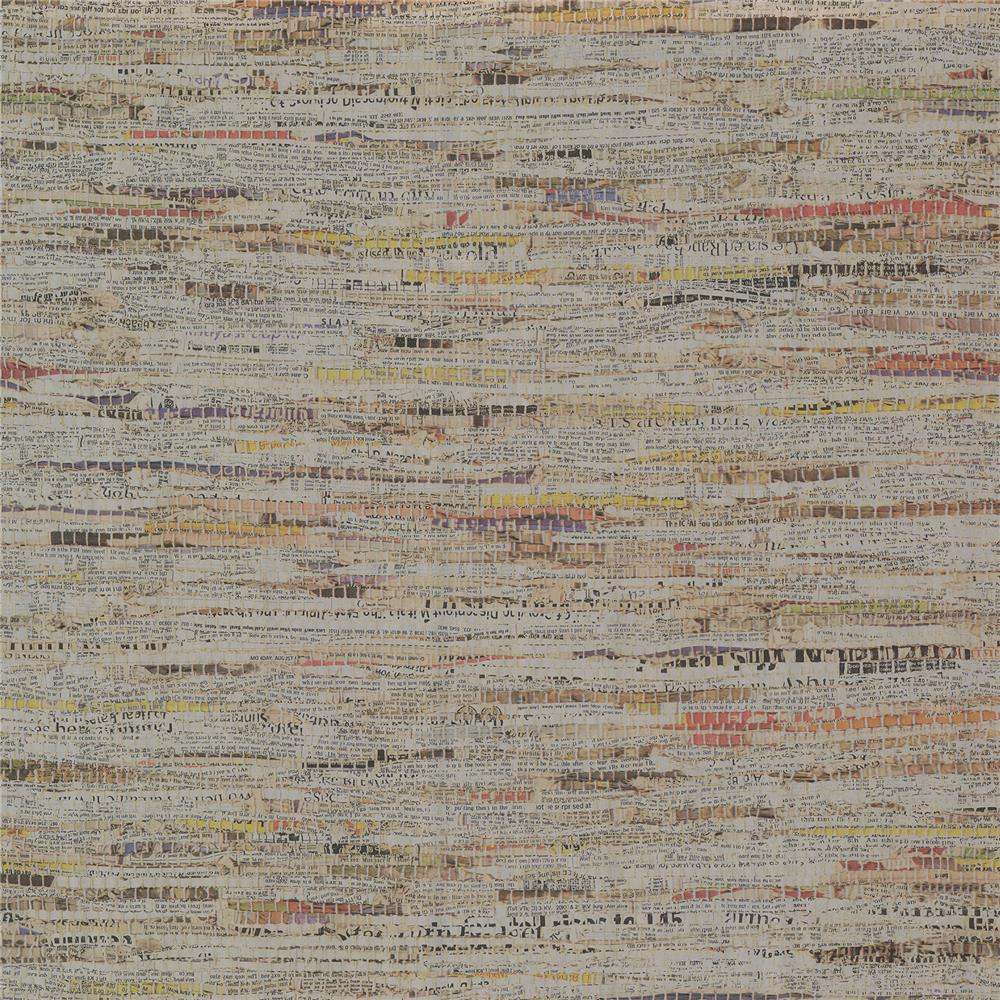 Brewster 2704-22685 For Your Bath III Clip Silver Newspaper Print Wallpaper