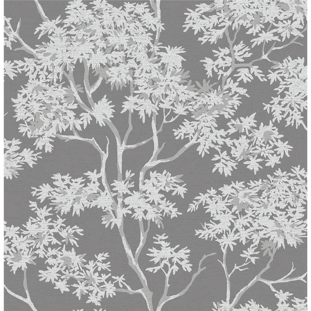 Brewster 2704-41253SW For Your Bath III Paix Charcoal Trees Wallpaper