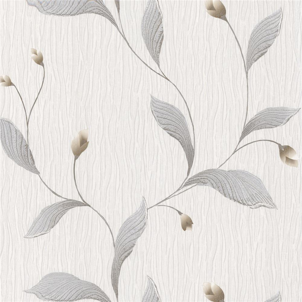 Brewster 2704-5680 For Your Bath III Nephi Silver Leaf Texture Wallpaper