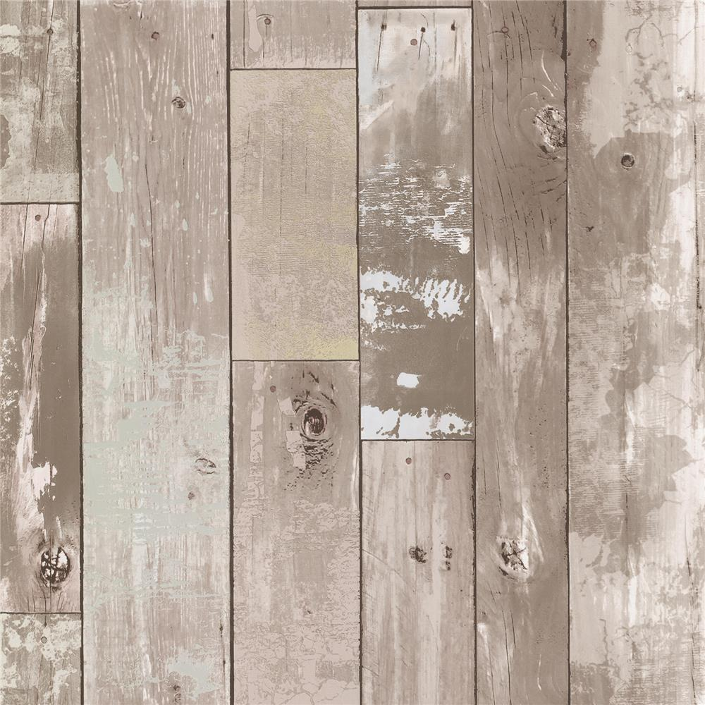 Brewster 2718-20132 Texture Trends II Heim Taupe Distressed Wood Panel Wallpaper