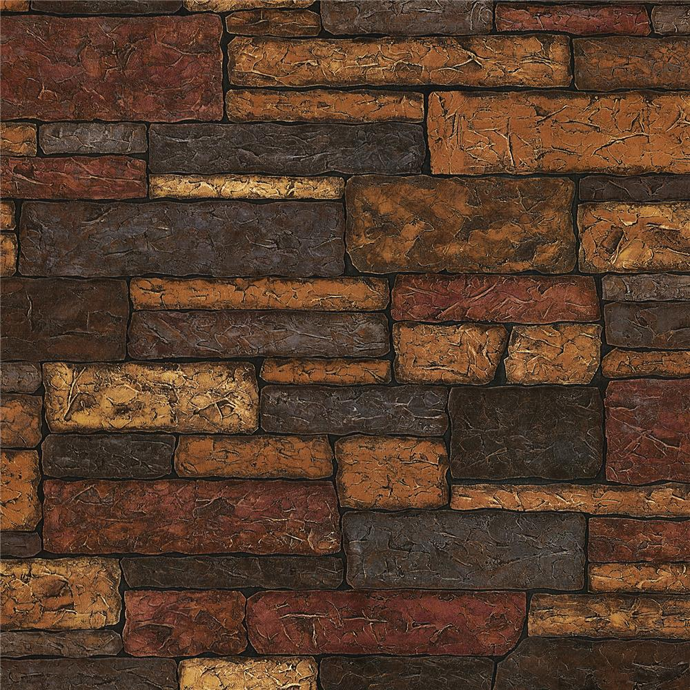 Brewster 2718-41394 Texture Trends II Clayton Charcoal Stone Texture Wallpaper
