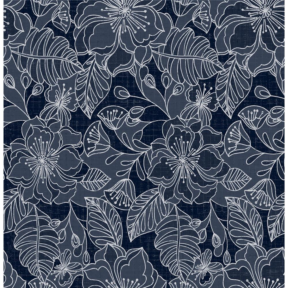 Brewster 2734-003539 Toulouse Navy Floral Wallpaper