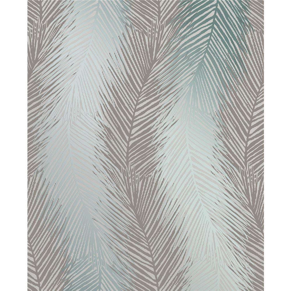 Decorline by Brewster 2735-23339 Essence Wheaton Teal Leaf Wave Wallpaper