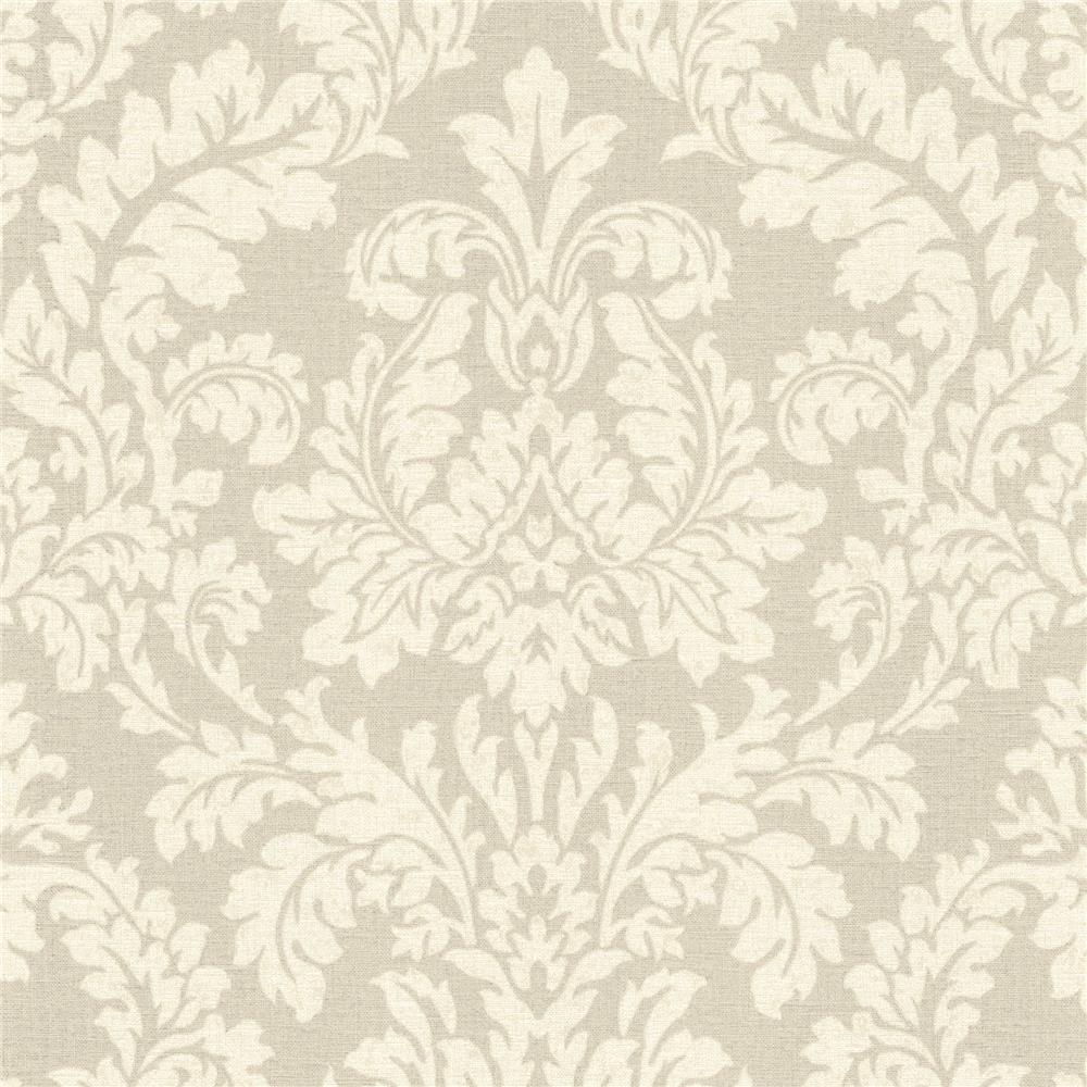 Advantage by Brewster 2773-449020 Neutral Black White Honor Beige Damask Wallpaper