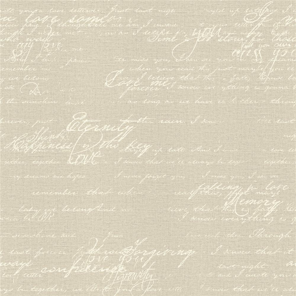 Advantage by Brewster 2773-449563 Neutral Black White Nouvel Beige Script Wallpaper