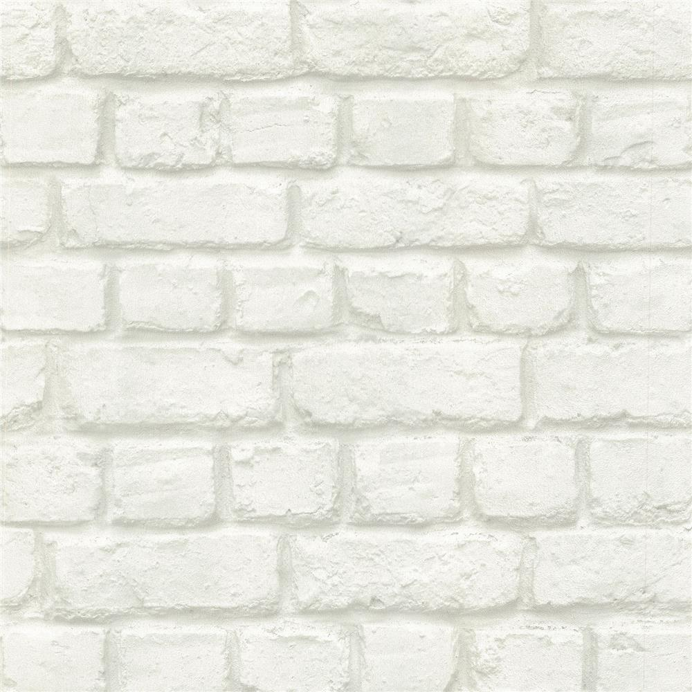 Advantage by Brewster 2773-587203 Neutral Black White Chicago Dove Brick Wallpaper