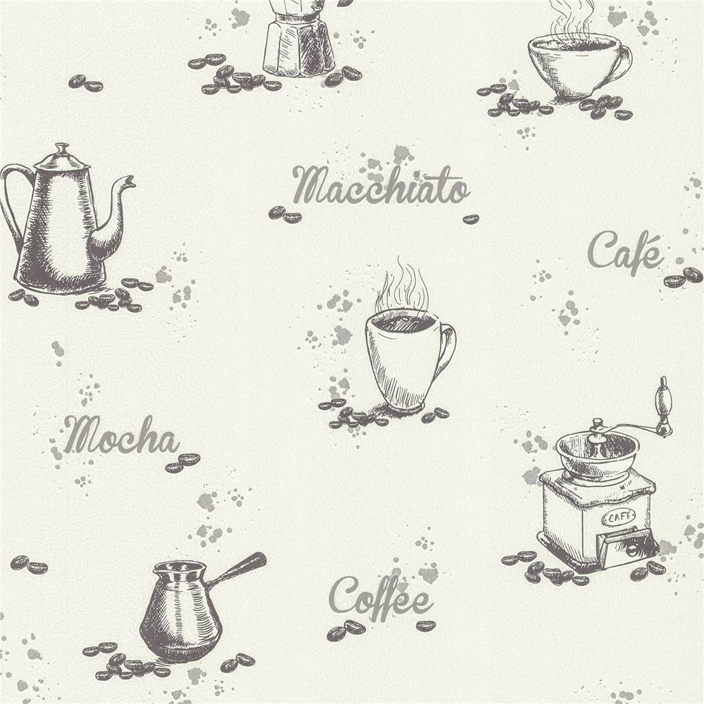 Advantage by Brewster 2773-614329 Neutral Black White Nell Ivory Coffee Wallpaper