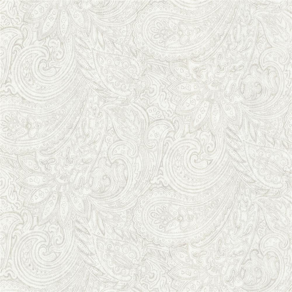 Advantage by Brewster 2773-702118 Neutral Black White Lula Light Grey Paisley Wallpaper