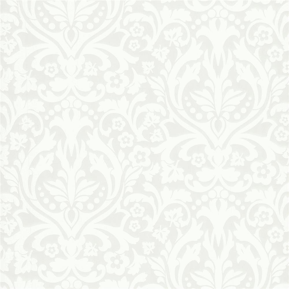 Advantage by Brewster 2773-758733 Neutral Black White Petal Silver Flocked Damask Wallpaper