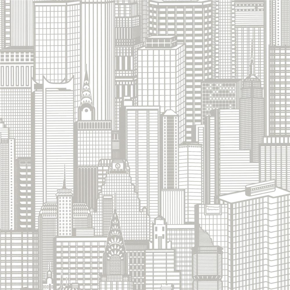Advantage by Brewster 2773-795127 Neutral Black White Aston Light Grey City Wallpaper