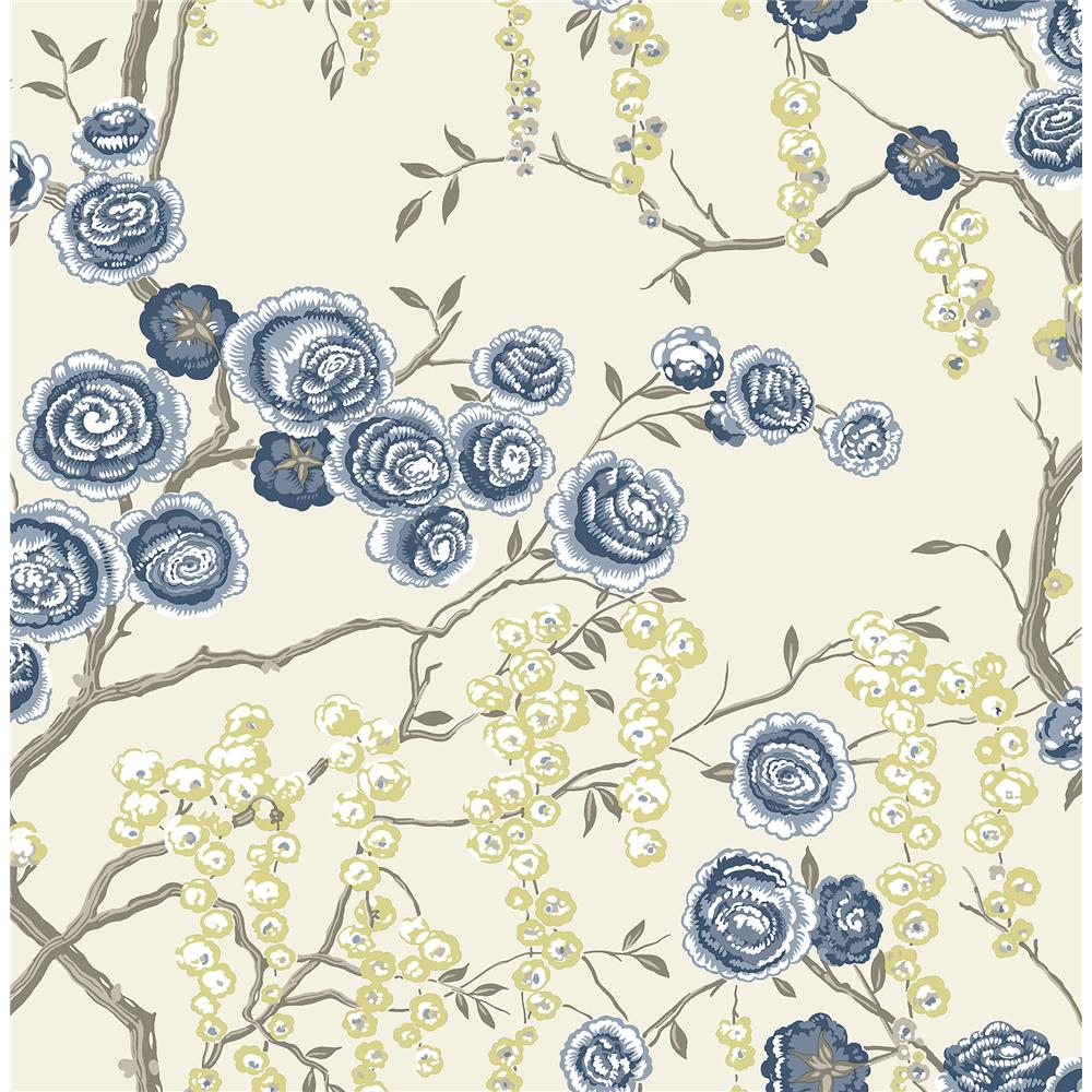 A-Street Prints by Brewster 2785-24830 Signature by Sarah Richardson 58 by Brewster 2785-24830 58 Indigo Peony Tree Wallpaper