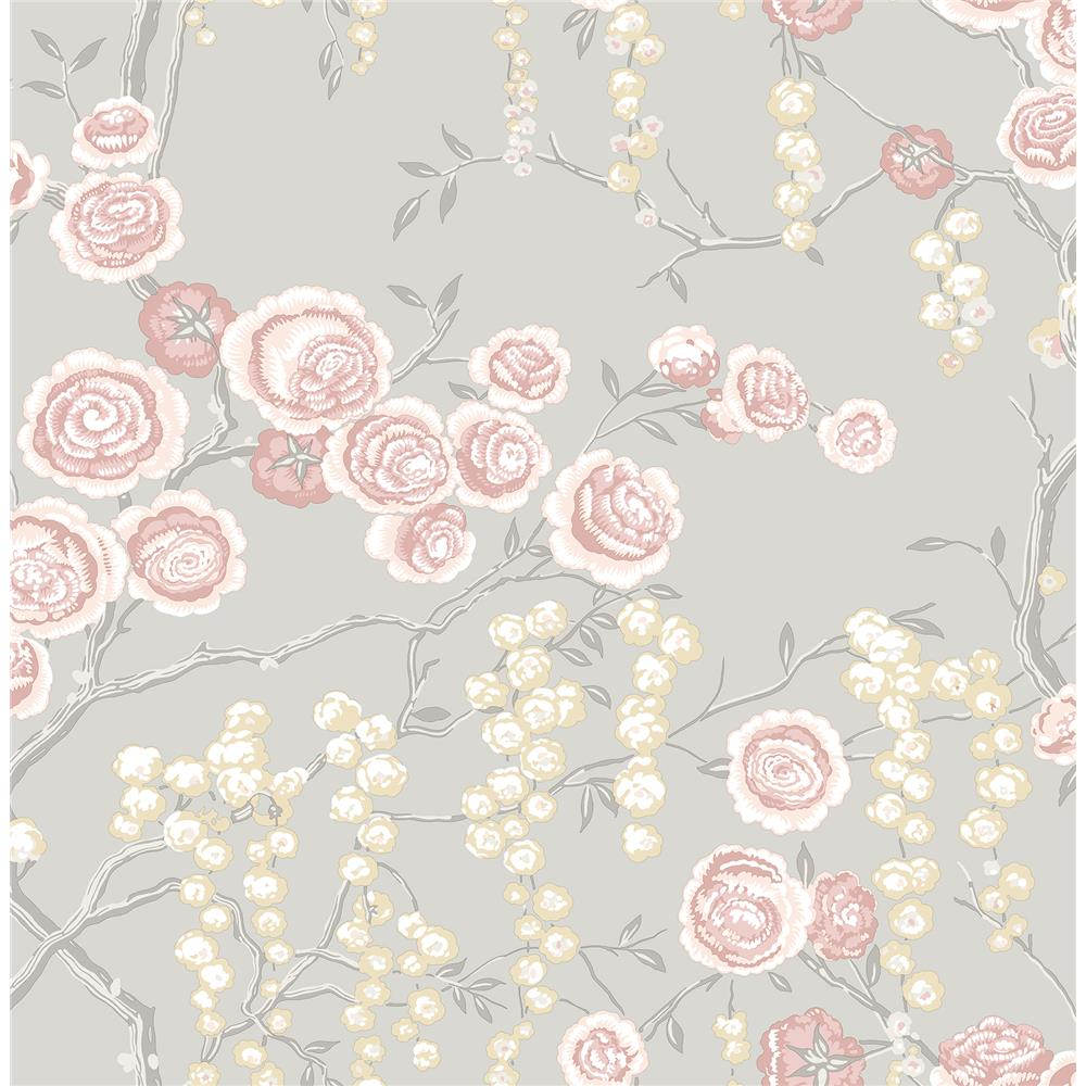 A-Street Prints by Brewster 2785-24831 Signature by Sarah Richardson 21 by Brewster 2785-24831 21 Petal Peony Tree Wallpaper