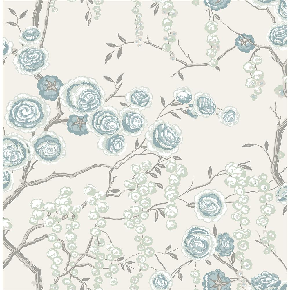 A-Street Prints by Brewster 2785-24832 Signature by Sarah Richardson 5 by Brewster 2785-24832 5 Aqua Peony Tree Wallpaper