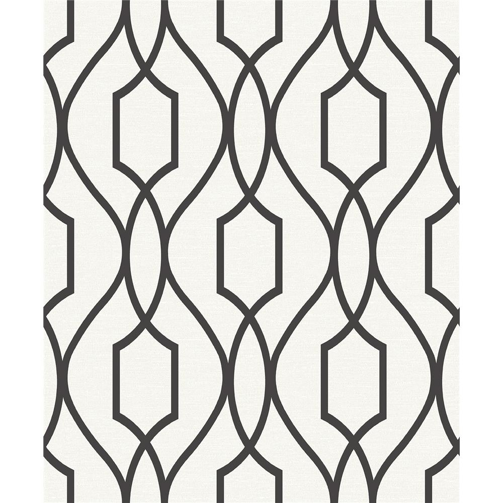 Advantage by Brewster 2809-87711 Geo Evelyn Black Trellis Wallpaper