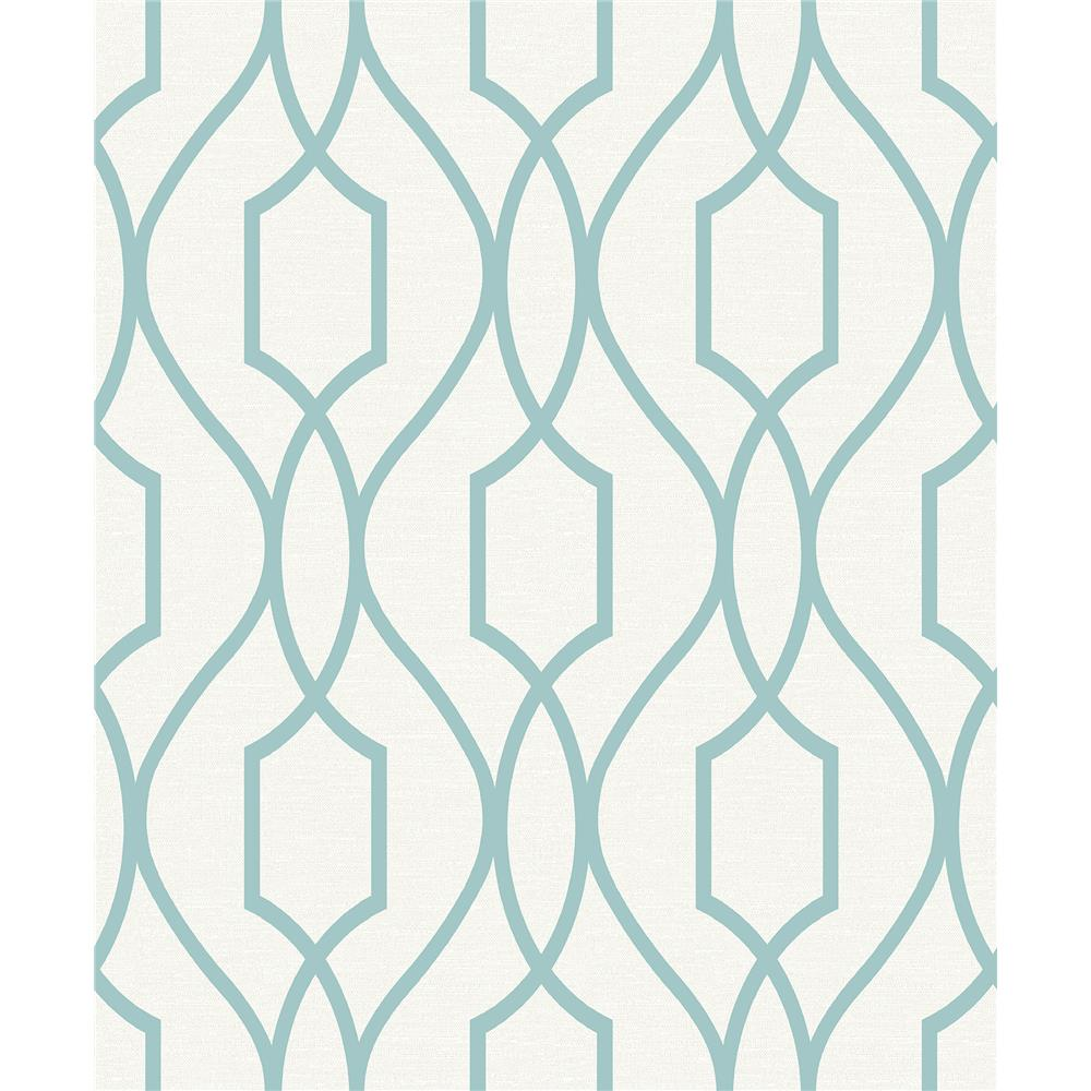 Advantage by Brewster 2809-87712 Geo Evelyn Teal Trellis Wallpaper
