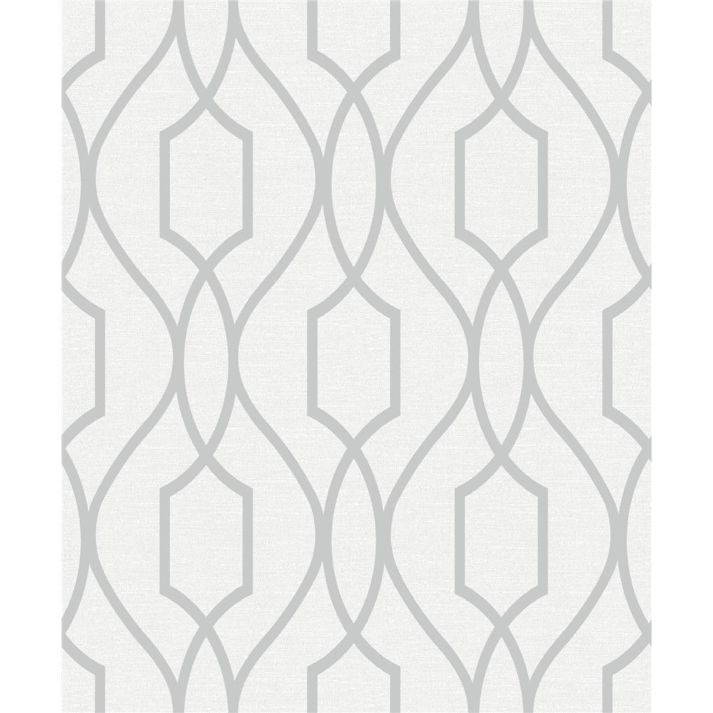 Advantage by Brewster 2809-87714 Geo Evelyn Silver Trellis Wallpaper