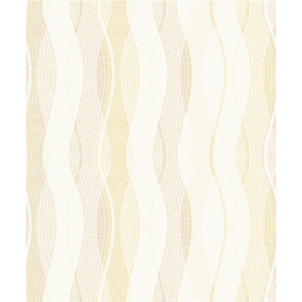 Advantage by Brewster 2809-IH20007 Geo Jenner Light Yellow Wave Wallpaper