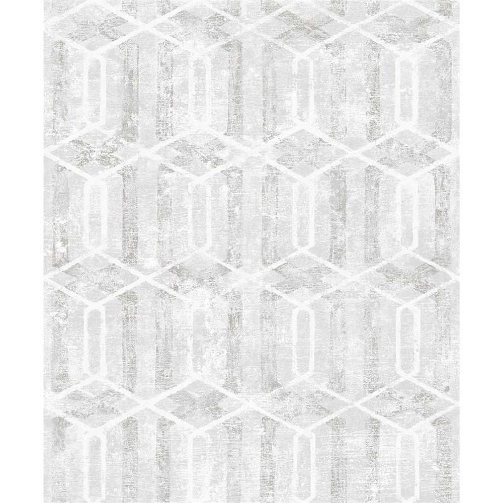 Advantage by Brewster 2809-SH01061 Geo Stormi Light Grey Geometric Wallpaper