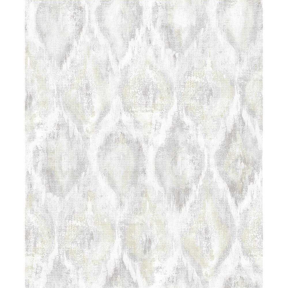 Advantage by Brewster 2809-SH01101 Geo Gilboa Eggshell Ikat Wallpaper