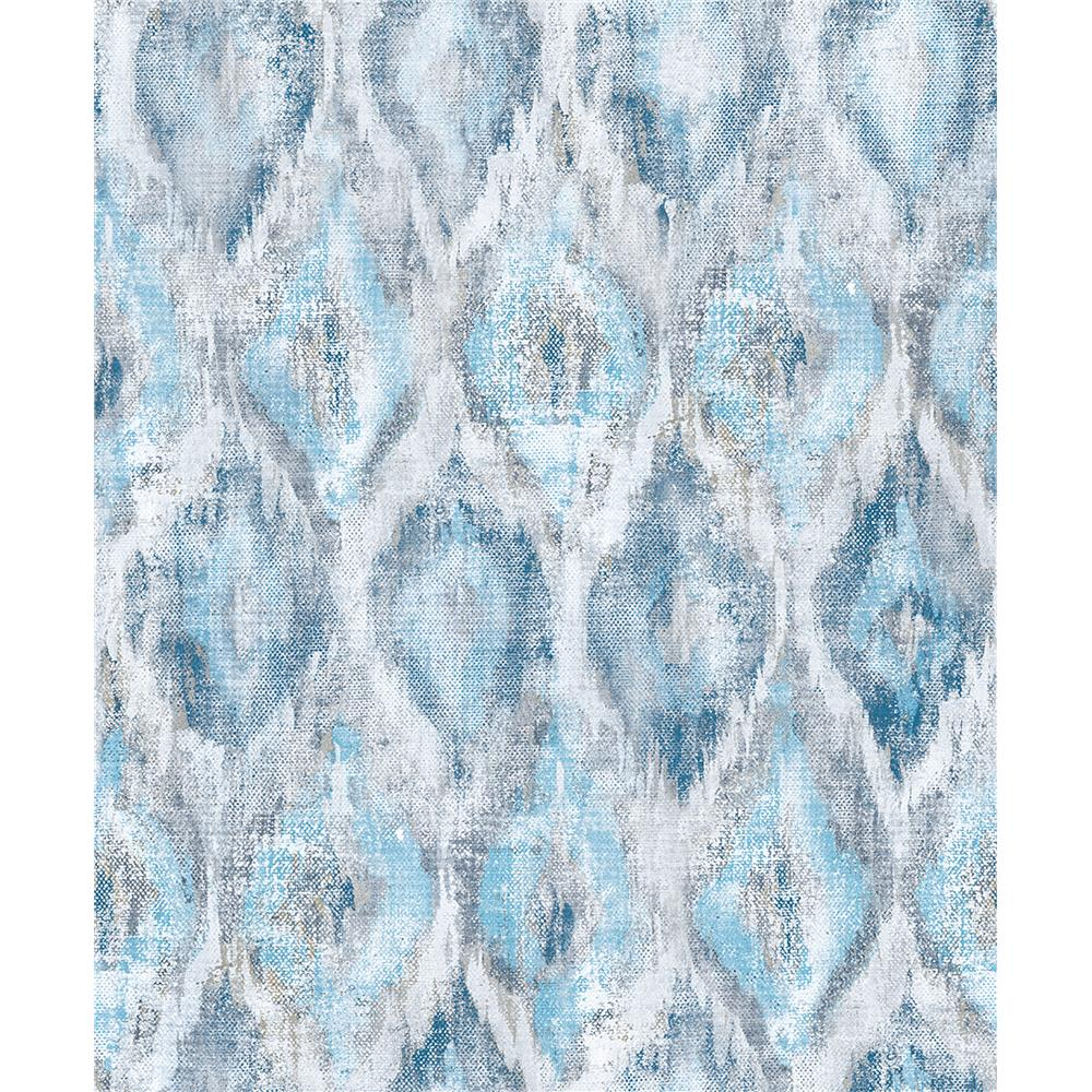 Advantage by Brewster 2809-SH01104 Geo Gilboa Blue Ikat Wallpaper