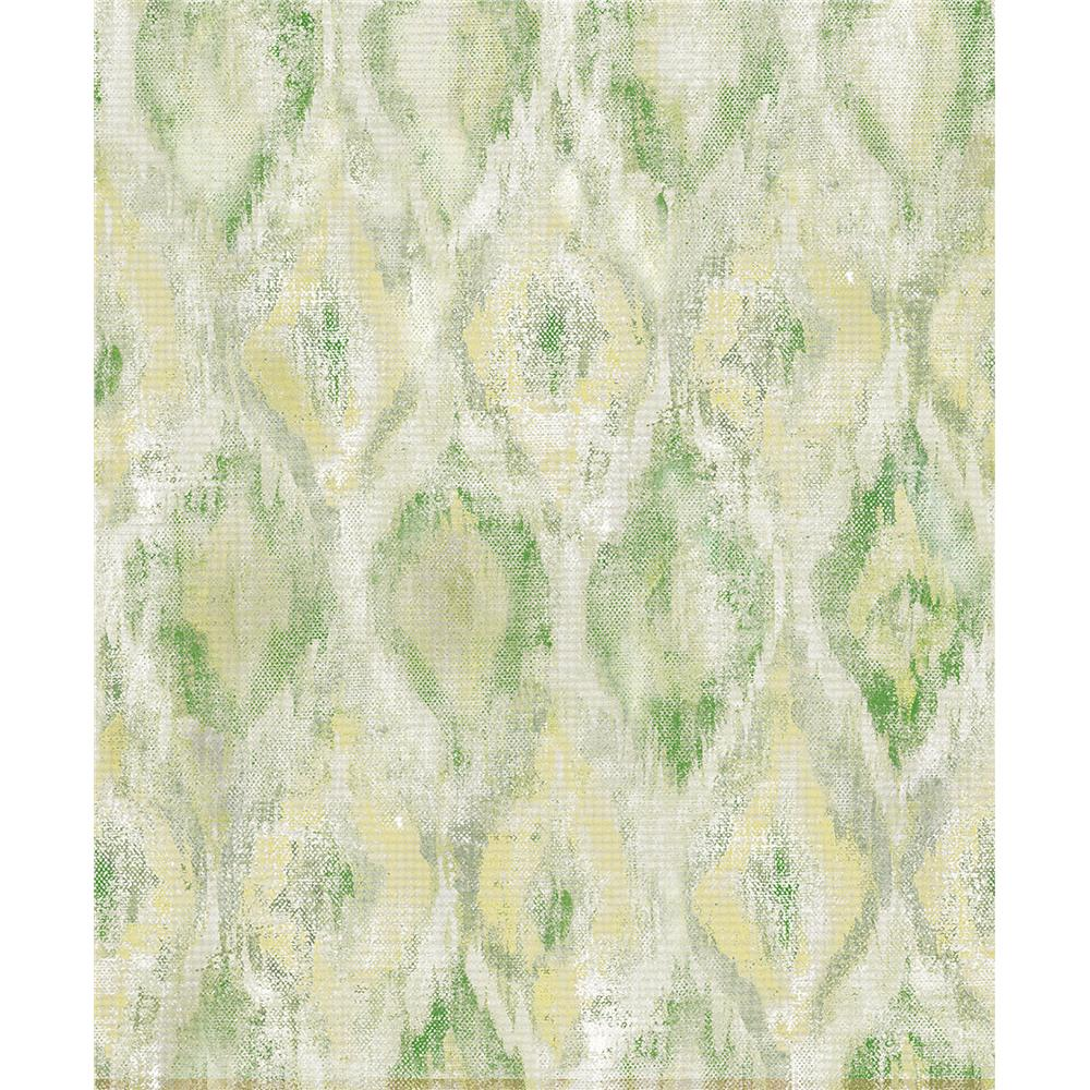 Advantage by Brewster 2809-SH01105 Geo Gilboa Green Ikat Wallpaper