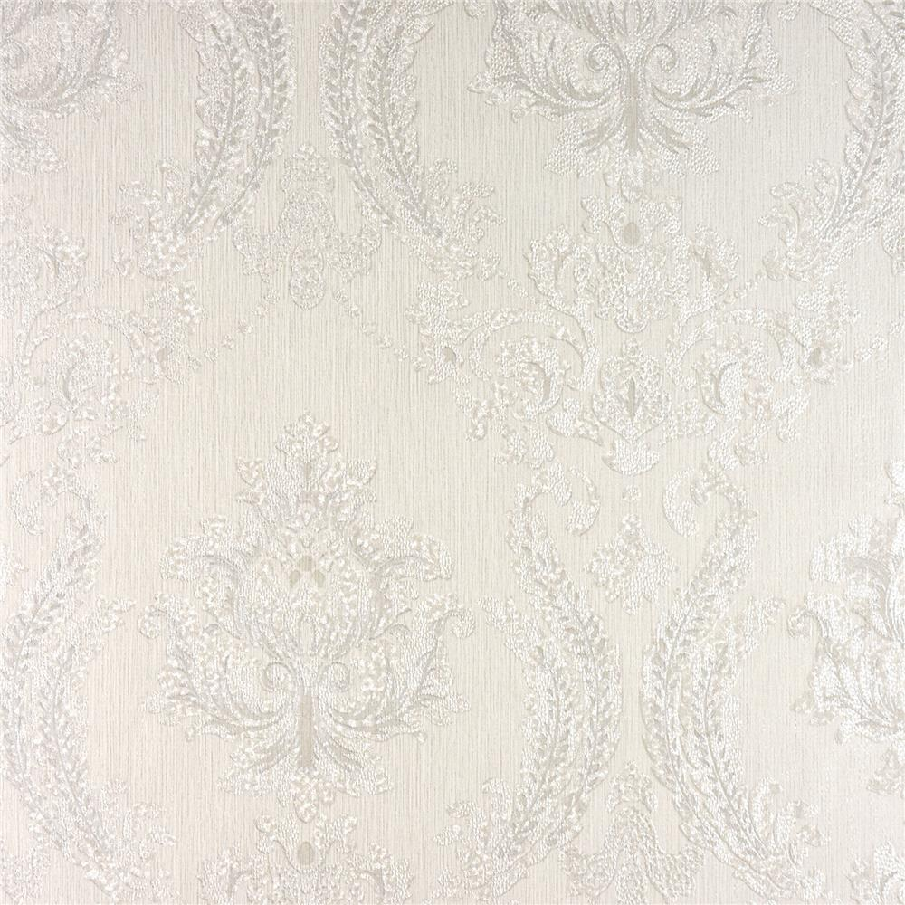 Advantage by Brewster 2810-BLW10901 Tradition Maizey White Damask Wallpaper