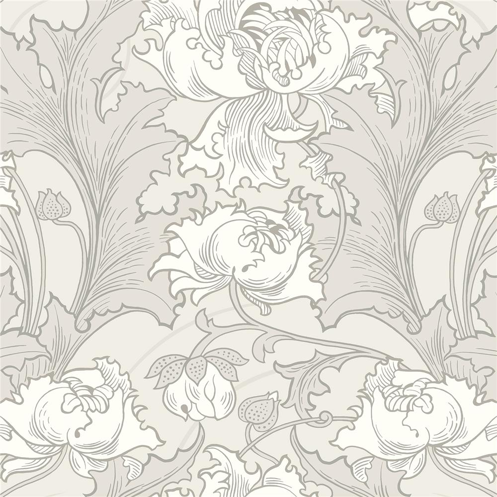 Wall Vision by Brewster 2827-4540 Siri Grey Floral Wallpaper