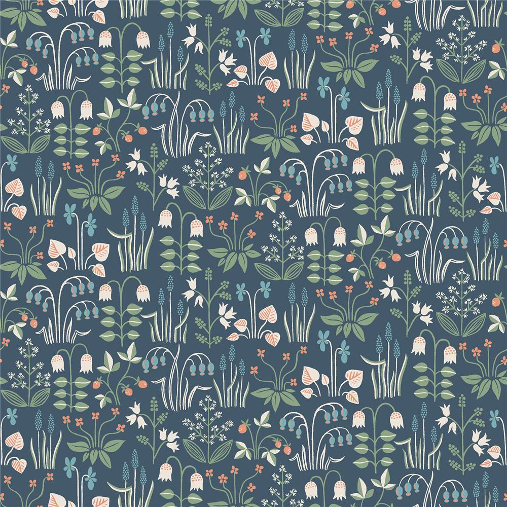 Wall Vision by Brewster 2827-7215 Strawberry Field Navy Garden Wallpaper