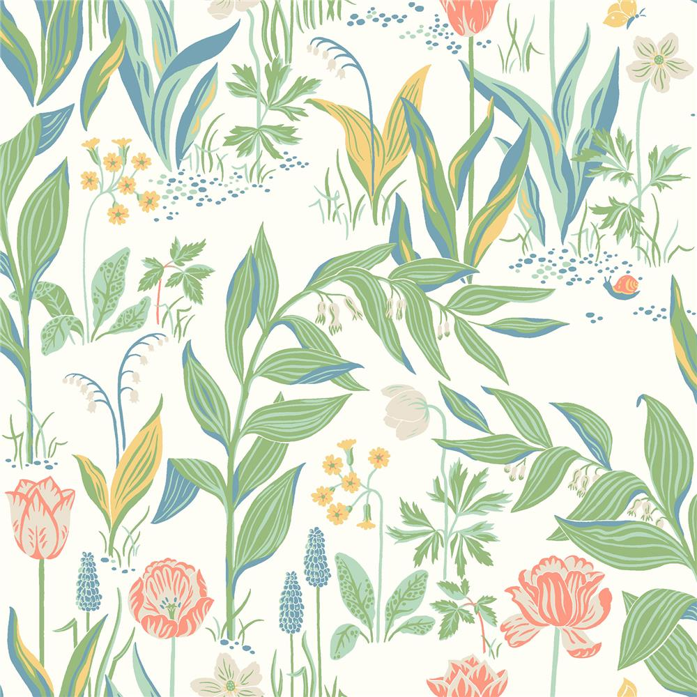 Wall Vision by Brewster 2827-7218 Spring Garden Off-White Botanical Wallpaper