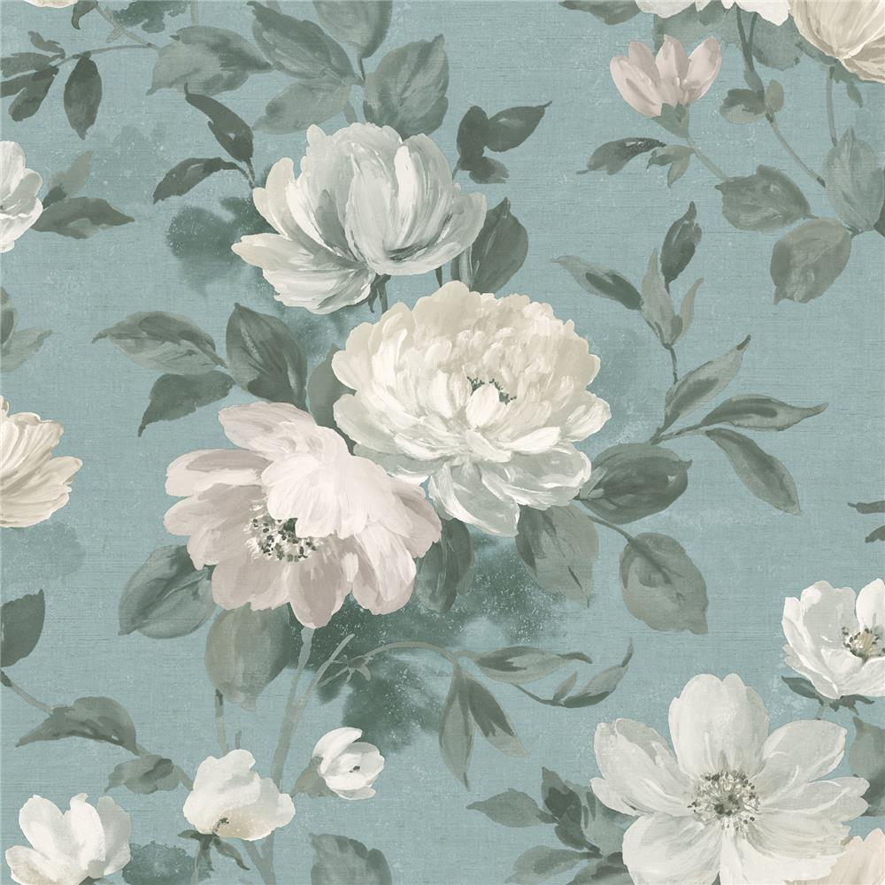 Wall Vision by Brewster 2827-7223 Peony Slate Floral Wallpaper
