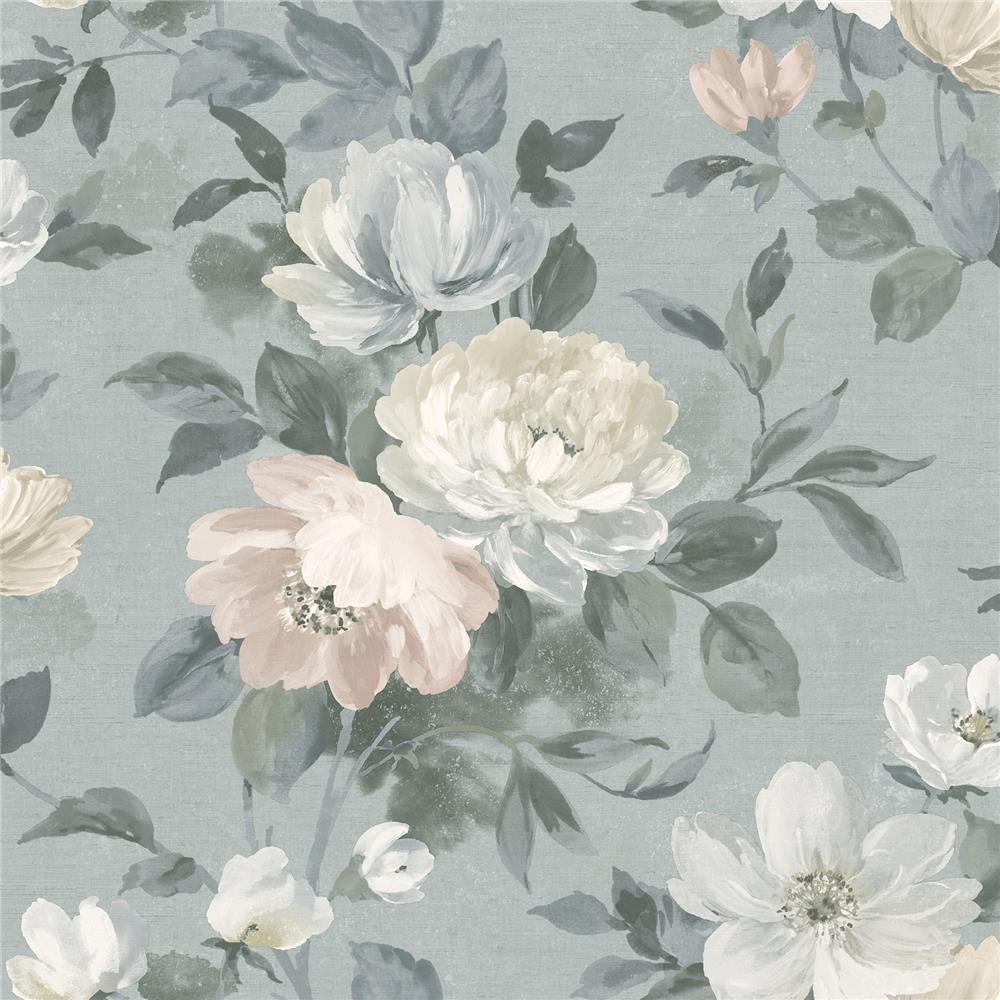 Wall Vision by Brewster 2827-7224 Peony Grey Floral Wallpaper