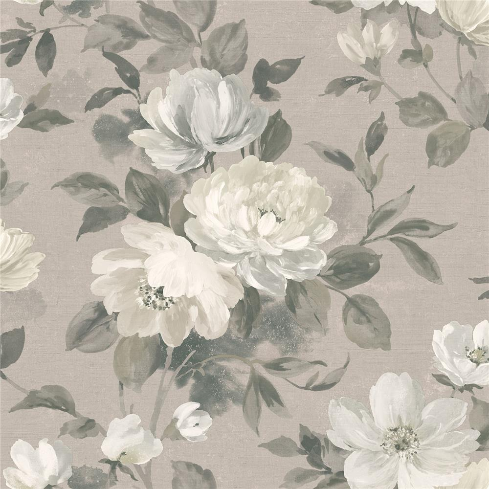 Wall Vision by Brewster 2827-7225 Peony Light Grey Floral Wallpaper