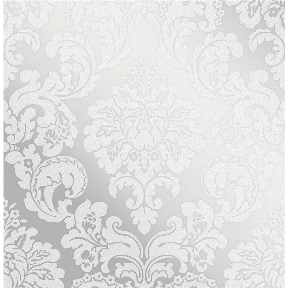 Advantage by Brewster 2834-42238 Advantage Metallics Margot Silver Damask Wallpaper