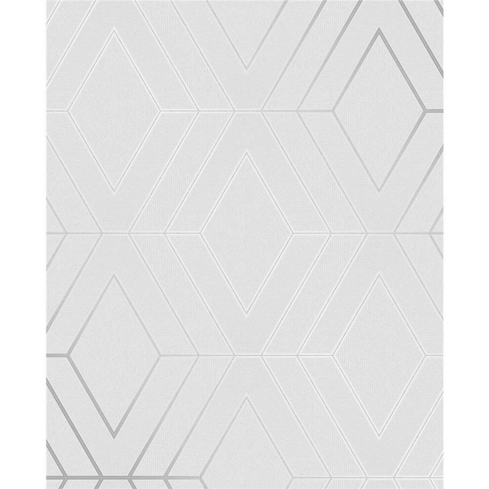 Advantage by Brewster 2834-42340 Advantage Metallics Adaline Light Grey Geometric Wallpaper