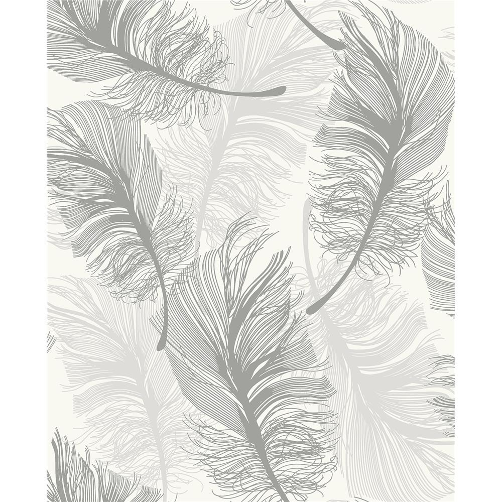 Advantage by Brewster 2834-M1390 Advantage Metallics Clemente Light Grey Foil Feather Wallpaper