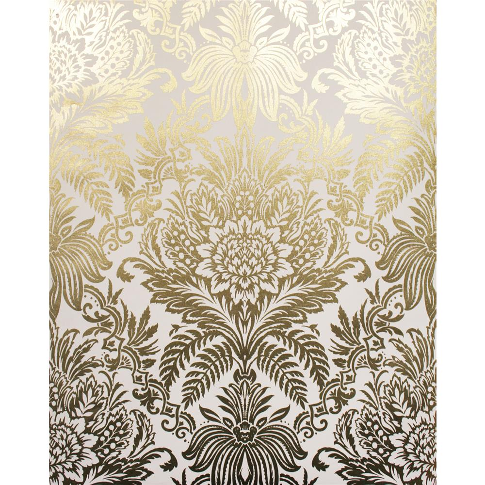 Advantage by Brewster 2834-M1395 Advantage Metallics Bernadette Gold Damask Wallpaper