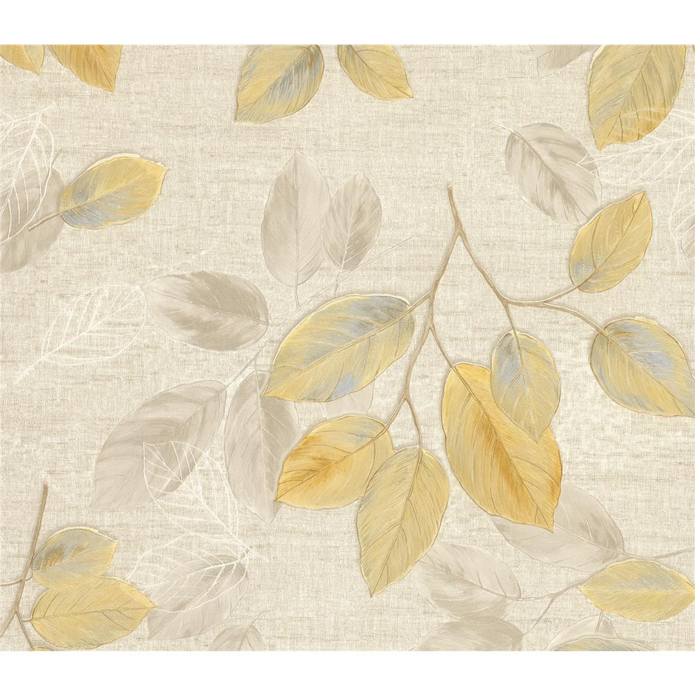 Advantage by Brewster 2835-DI40401 Deluxe Dorado Beige Leaf Toss Wallpaper