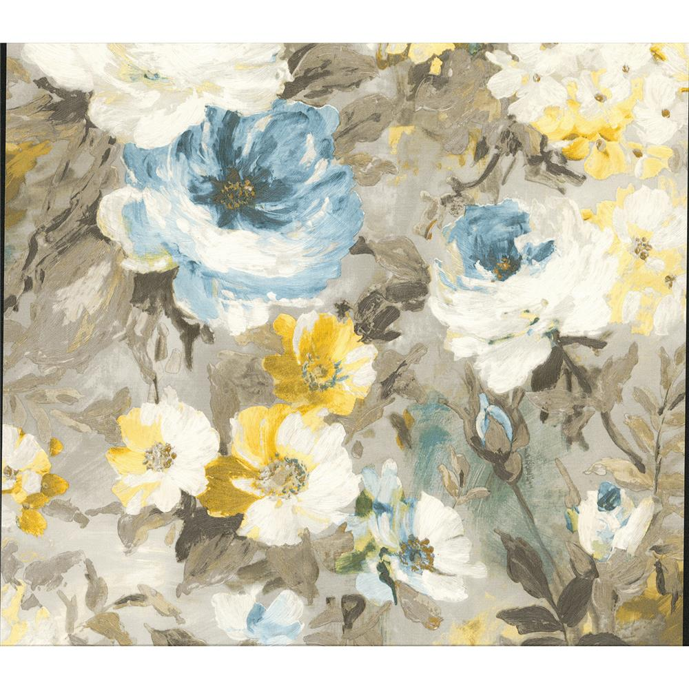 Advantage by Brewster 2835-SY5112P Deluxe Macau Blue Painterly Floral Wallpaper